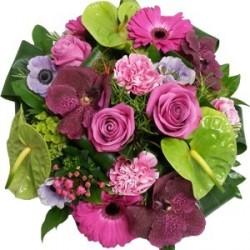 Bouquet rond rose et vert